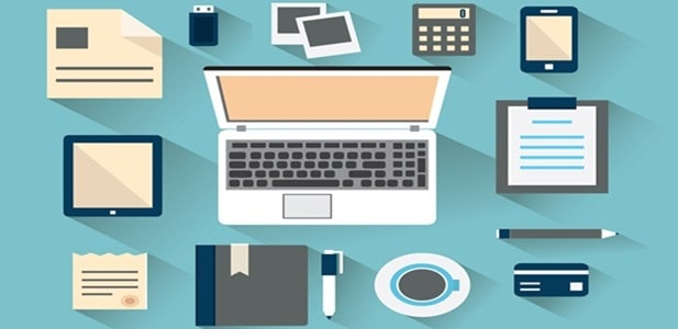 Workplace with mobile devices and documents. Flat style with long shadows - vector illustration